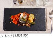 Купить «Appetizing mackerel roll with carrots and lard», фото № 29831951, снято 19 июля 2019 г. (c) Яков Филимонов / Фотобанк Лори