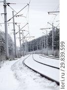 Купить «Electrified railway line with poles for wires at winter season, an empty road», фото № 29839599, снято 30 декабря 2012 г. (c) Кекяляйнен Андрей / Фотобанк Лори