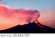 Купить «Etna volcano in eruption, view from Malabotta, Sicily, Italy, Europe», фото № 29843747, снято 29 декабря 2019 г. (c) age Fotostock / Фотобанк Лори