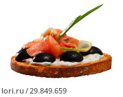 Купить «Tasty canape with salmon and olives», фото № 29849659, снято 23 марта 2019 г. (c) Яков Филимонов / Фотобанк Лори