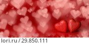 Купить «Red hearts on bokeh background», фото № 29850111, снято 14 января 2019 г. (c) Иван Михайлов / Фотобанк Лори