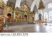 Купить «Orthodox iconostasis inside the Holy Trinity Cathedral», фото № 29851579, снято 10 июня 2018 г. (c) FotograFF / Фотобанк Лори