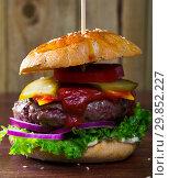 Купить «Hamburger with beef and ketchup, tomato, cheese, cucumber and lettuce», фото № 29852227, снято 26 марта 2019 г. (c) Яков Филимонов / Фотобанк Лори