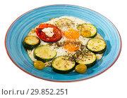 Купить «Image of fried eggs with zucchini and tomato», фото № 29852251, снято 18 июля 2019 г. (c) Яков Филимонов / Фотобанк Лори