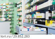 Medicines on shelves in pharmacy. Стоковое фото, фотограф Яков Филимонов / Фотобанк Лори