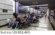 Купить «Moscow, Russia - June 6. 2018. people in Departure hall of airport Vnukovo», видеоролик № 29852463, снято 4 февраля 2019 г. (c) Володина Ольга / Фотобанк Лори