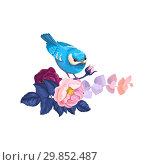 Купить «Spring Bird on Flower Branch Watercolor Artwork. Floral Summer Abstract Bouquet with Blue Leaf and Nightingale. Romantic Twig Blossom Background Flat Cartoon Vector Illustration», иллюстрация № 29852487 (c) Olga Petrakova / Фотобанк Лори