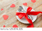 Купить «close up of table setting for valentines day», фото № 29874335, снято 9 февраля 2018 г. (c) Syda Productions / Фотобанк Лори