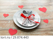 Купить «close up of table setting for valentines day», фото № 29874443, снято 9 февраля 2018 г. (c) Syda Productions / Фотобанк Лори