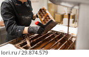 Купить «confectioner cleaning chocolate mold by spatula», фото № 29874579, снято 4 декабря 2018 г. (c) Syda Productions / Фотобанк Лори