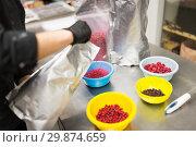 Купить «cook pouring berries into bowl at kitchen», фото № 29874659, снято 4 декабря 2018 г. (c) Syda Productions / Фотобанк Лори