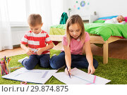 Купить «children drawing and making crafts at home», фото № 29874875, снято 15 октября 2017 г. (c) Syda Productions / Фотобанк Лори