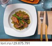 Купить «Grilled duck breast with vegetables», фото № 29875791, снято 18 июля 2019 г. (c) Яков Филимонов / Фотобанк Лори