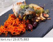 Купить «Roll mackerel with carrots and lard», фото № 29875883, снято 19 февраля 2019 г. (c) Яков Филимонов / Фотобанк Лори