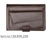 Купить «Closed brown wallet isolated on white», фото № 29876239, снято 8 ноября 2014 г. (c) Людмила Дутко / Фотобанк Лори