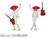 Купить «Mexican guitar player isolated on white», фото № 29886435, снято 1 мая 2015 г. (c) Elnur / Фотобанк Лори