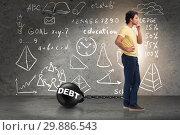 Купить «Student in loan and expensive education concept», фото № 29886543, снято 19 марта 2019 г. (c) Elnur / Фотобанк Лори