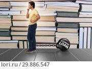 Купить «Student in loan and expensive education concept», фото № 29886547, снято 19 марта 2019 г. (c) Elnur / Фотобанк Лори