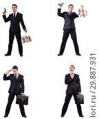 Купить «Businessman with money sacks, briefcase and handgun», фото № 29887931, снято 20 марта 2019 г. (c) Elnur / Фотобанк Лори
