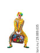 Купить «Male clown isolated on white», фото № 29889035, снято 28 сентября 2018 г. (c) Elnur / Фотобанк Лори
