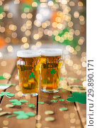 Купить «glasses of beer and st patricks day party props», фото № 29890171, снято 31 января 2018 г. (c) Syda Productions / Фотобанк Лори