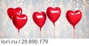Купить «five red heart shaped helium balloons on white», фото № 29890179, снято 6 марта 2018 г. (c) Syda Productions / Фотобанк Лори