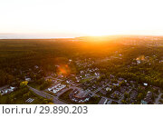 aerial view of suburban houses near forest (2015 год). Стоковое фото, фотограф Syda Productions / Фотобанк Лори