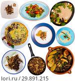 Купить «Set of assorted dishes with mushrooms», фото № 29891215, снято 16 июля 2019 г. (c) Яков Филимонов / Фотобанк Лори