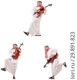 Купить «Arab man playing cello isolated on white», фото № 29891823, снято 8 июля 2020 г. (c) Elnur / Фотобанк Лори