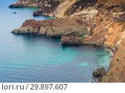Купить «Picturesque beautiful rocky coast of the sea, coast of the Crimean peninsula, Russia», фото № 29897607, снято 9 ноября 2017 г. (c) Константин Лабунский / Фотобанк Лори