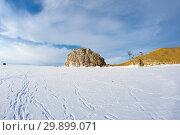 Купить «Cape Burkhan (Shaman Rock) on Olkhon Island at Baikal Lake», фото № 29899071, снято 3 марта 2017 г. (c) Юлия Белоусова / Фотобанк Лори