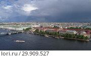 Купить «Flight over Neva River in St. Petersburg city», видеоролик № 29909527, снято 9 сентября 2018 г. (c) Михаил Коханчиков / Фотобанк Лори