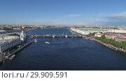 Купить «Flight over Neva River in St. Petersburg city», видеоролик № 29909591, снято 5 сентября 2018 г. (c) Михаил Коханчиков / Фотобанк Лори