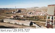 View from drone Center for Study of Mining Poso Pilar, Escucha, Spain. Стоковое видео, видеограф Яков Филимонов / Фотобанк Лори