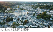 Купить «Aerial view of medieval castle of Chateau de Langeais located in commune of same name in Indre-et-Loire department, France», видеоролик № 29915859, снято 25 октября 2018 г. (c) Яков Филимонов / Фотобанк Лори