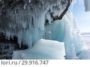 Купить «Icicles on Lake Baikal», фото № 29916747, снято 6 марта 2017 г. (c) Юлия Белоусова / Фотобанк Лори