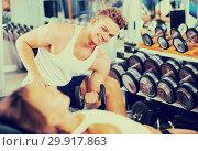 Купить «young athlete training biceps muscles», фото № 29917863, снято 4 октября 2016 г. (c) Яков Филимонов / Фотобанк Лори