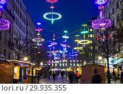 Купить «Geneva Lux Festival, Installation Lux-lge by Ben Busche, Geneva, Switzerland.», фото № 29935355, снято 13 декабря 2016 г. (c) age Fotostock / Фотобанк Лори