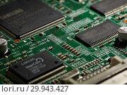 Купить «St.Petersburg, Russia - April 2018 -Printed circuit board. Computer technology background.», фото № 29943427, снято 13 апреля 2018 г. (c) Мельников Дмитрий / Фотобанк Лори