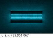 Купить «Interior with blue neon light lines 3d», иллюстрация № 29951067 (c) EugeneSergeev / Фотобанк Лори