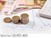 Купить «Калькулятор, графики, диаграммы и монеты. Бизнес-натюрморт», эксклюзивное фото № 29951403, снято 13 февраля 2019 г. (c) Юрий Морозов / Фотобанк Лори