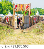 "Купить «Russia, Samara, August, 2018: Medieval marching camp with a moat, rampart and fortress gates. Military history festival ""Military case"" with», фото № 29976503, снято 5 августа 2018 г. (c) Акиньшин Владимир / Фотобанк Лори"