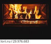 Купить «Fire in the fireplace with glass door», фото № 29976683, снято 26 января 2019 г. (c) EugeneSergeev / Фотобанк Лори