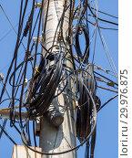Купить «Бетонный столб с бухтами телефонного кабеля», фото № 29976875, снято 19 августа 2018 г. (c) Вячеслав Палес / Фотобанк Лори