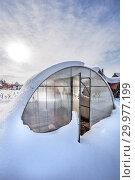 Купить «Заметённая снегом теплица из поликарбоната на даче. Бердск, Новосибирская область, Западная Сибирь, Россия», фото № 29977199, снято 16 февраля 2019 г. (c) Евгений Мухортов / Фотобанк Лори