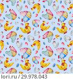 Купить «Watercolor hand-drawn chicken, ducks and eggs», иллюстрация № 29978043 (c) Марина Сапрунова / Фотобанк Лори