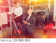 Купить «Toned image of business colleagues in lost room-lab», фото № 29980983, снято 29 января 2019 г. (c) Яков Филимонов / Фотобанк Лори
