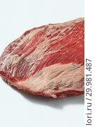 Купить «Fresh organic natural raw flank steak, close up structure ob beef on a white background, copy space.», фото № 29981487, снято 24 января 2019 г. (c) Ярослав Данильченко / Фотобанк Лори