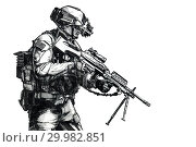 Купить «US Army Ranger member with machinegun and night vision goggles moving on mission. Hand drawn image.», фото № 29982851, снято 19 марта 2019 г. (c) age Fotostock / Фотобанк Лори
