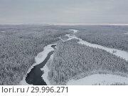 Купить «Amazing Wild Olanga River In Frozen Forest. Really Snowly Winter On The North. Aerial,  Paanajärvi, Karelia, Russia», фото № 29996271, снято 9 февраля 2019 г. (c) Кирилл Трифонов / Фотобанк Лори